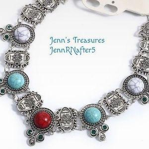 Vintage BOHO Tibetan Silver Stone Collar Necklace
